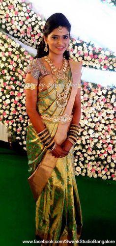 Our bride Leelashree is all smiles after her makeover for her reception. Makeup and hairstyle by Swank Studio. Bridal jewelry. Bridal hair. Silk sari. Bridal Saree Blouse Design. Indian Bridal Makeup. Indian Bride. Gold Jewellery. Statement Blouse. Tamil bride. Telugu bride. Kannada bride. Hindu bride. Malayalee bride. Find us at https://www.facebook.com/SwankStudioBangalore