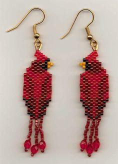 Cardinal Seed Bead Earrings.