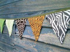 Safari Bunting Flags - Jungle theme Fabric Pennants animal prints via Etsy