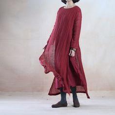 Brugundy layered long linen dress maxis oversize floor length linen dresses