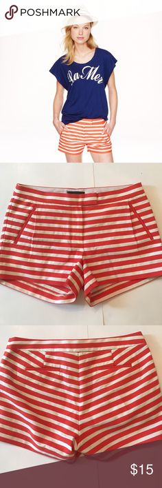 """NWOT J. Crew Textured Striped Shorts Brand new, never worn J. Crew textured- stripe shorts in festival orange. Perfect condition! These shorts feel refined, thanks to the clean waistband, subtle pleat detail and angled pockets. Zip fly. 3"""" inseam. 93% cotton, 7% nylon. Size 8. J. Crew Shorts"""