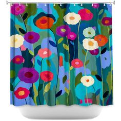 DiaNocheDesigns Good Morning Sunshine Flowers Shower Curtain