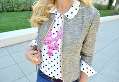 polka dot blouse, tweed blazer, pink bubble necklace, jean skirt, gray booties