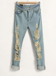 Hollow Mid-waist Solid Blue Jeans