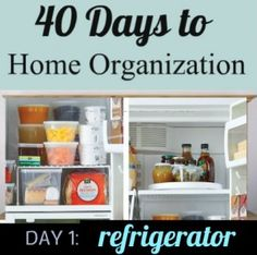 ORGANIZE YOUR REFRIGERATOR - she says to use press n seal on the shelves to keep them clean. Like tear offs!
