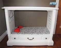 Recycled Dog bed, drawer for dog accesssories