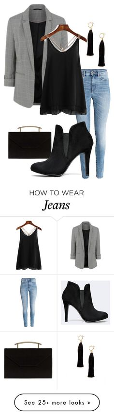 """$100 Set Blazer and Jeans"" by bckastl on Polyvore featuring MANGO, Blazé Milano and Forever 21"