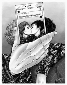 Im in love this picture of phan kissing, credit to the artist of thia beautiful creation