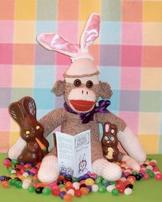 #SockMonkeyHoliday Ernie the Sock Monkey Easter Bunny Reading Time by WiggysStuff