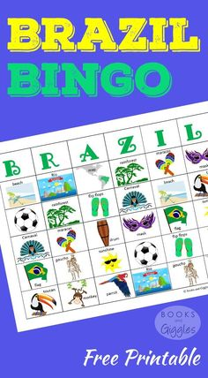 A colorful set of bingo cards and a fun game cube to learn about Brazil. Plus, some fun facts to go along with the game cards. For kids of all ages. Perfect for learning about Brazil ahead of the Olympics. Portuguese Lessons, Learn Portuguese, Carnival Activities, Activities For Kids, Geography Activities, Learning Games, Kids Learning, Teaching Kids, Brazil Facts