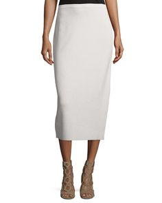 NWT Eileen Fisher Bone Silk/ Organic Cotton Interlock Pencil Skirt Large #EileenFisher #PencilSkirt