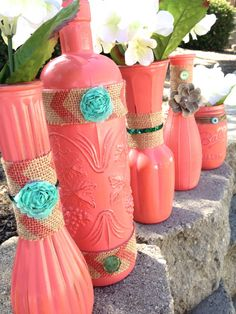 Coral Princess Set of 5 Vases Painted Coral by STITCHandCABOODLE, $32.00