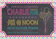 Children's Chalkboard Birthday Invitation by KLacapra on Etsy