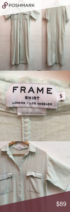 Frame Denim Shirtdress sz S Total length 56 inches, bust is 20 across. Frame denim Dresses Maxi