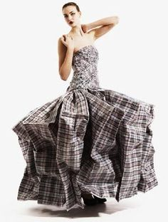 Gown made from 21 laundry bags by Gary Harvey.