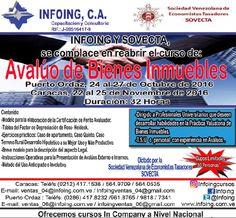 @InfoingCursos #avalúo #inmuebles  CURSO #AVALÚO DE BIENES INMUEBLES * Pto Ordaz: 24 al 27 de octubre del 2016 * Caracas: 22 al 25 de noviembre del 2016  INFOING Consultoría y Capacitación * Teléfonos: Puerto Ordaz: + 58 (286) 961.8765 / Caracas: + 58 (212) 417.1536 * Correo: ventas_06@Infoing.com.ve * Twitter: @InfoingCursos * http://www.Infoing.com.ve  #Caracas #InCompany #Presencial