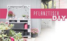 Pflanztisch DIY - upcycling - delari Diy Upcycling, Diy Projects, Backyard, Outdoor Decor, Home Decor, Gardening, Instagram, Herb Garden Pallet, Modern Garden Design