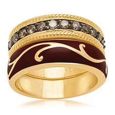 18k Yellow Gold Plated Sterling Silver Champagne Diamond Enamel Stack Rings (1/2 cttw), Size 6