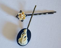 Cameo and rosette bobby pin set by pupettas on Etsy, €7.00