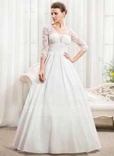 A-Line/Princess V-neck Floor-Length Taffeta Lace Wedding Dress With Ruffle Beading Sequins (002056594)