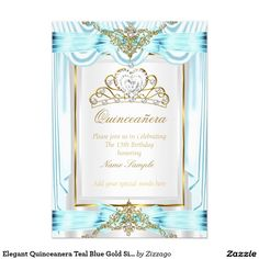 Elegant Quinceanera Teal Blue Gold Silver White 5x7 Paper Invitation Card