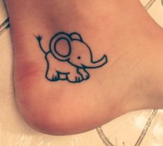 Cute foot elephant tattoo idea