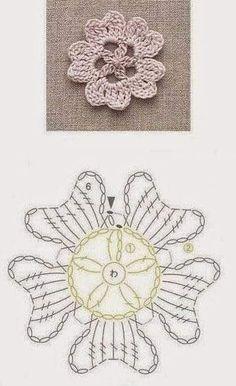 Crochet Snowflake Pattern, Crochet Motif Patterns, Crochet Earrings Pattern, Crochet Leaves, Crochet Flower Tutorial, Crochet Diagram, Thread Crochet, Crochet Crafts, Crochet Doilies