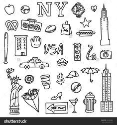 New York doodle line set. : New York doodle line set. New York Tattoo, Travel Logo, New Travel, New York Drawing, Nyc Drawing, Travel Symbols, Trekking, Travel Doodles, Visual Thinking