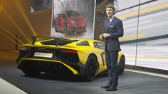 Stephan Winkelmann Unveils The Lamborghini Aventador LP 750-4 Superveloce Coupé 2015 at Geneva. More Images On The Following Link: https://www.carspecwall.com/lamborghini/aventador/aventador-lp-750-4-superveloce-coupe-2015/