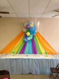Backdrop for my grandsons shower using several different colors of plastic table cloths, handmade tissue pompoms & balloons!