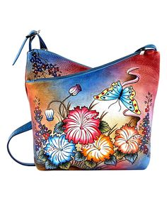 Love this Biacci Blue Dual-Compartment Hand-Painted Leather Crossbody Bag by Biacci on #zulily! #zulilyfinds