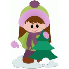 Silhouette Design Store: girl with christmas tree