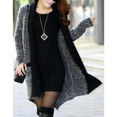 Fashionable Color Block Pockets Slimming Long Sleeve Women's Cardigan, BLACK, ONE SIZE in Sweaters & Cardigans | DressLily.com