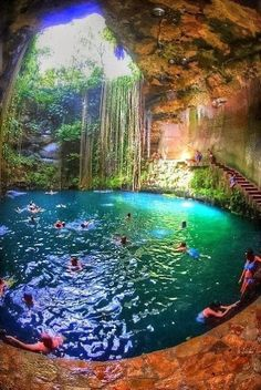 A natural spring feeds this sinkhole and has transformed it into a beautiful swimming hole. It is called THE SACRED CENOTE, and it is one of three such cenotes in and outside of Chichen Itza, in the State of Yucatán, Mexico.