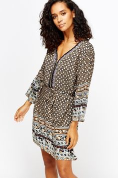 £5 - Zipped Front Ornate Tunic Dress