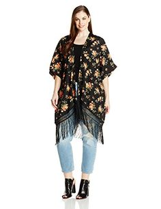 BB Dakota Women's Plus-Size Margarida Rose Veival Printed Fringe Kimono  http://www.effyourbeautystandarts.com/bb-dakota-womens-plus-size-margarida-rose-veival-printed-fringe-kimono/