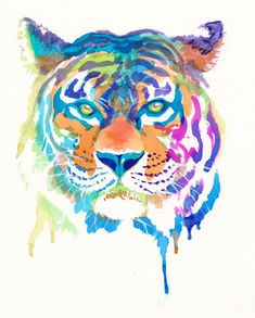 Tiger of Colors Watercolor Print  8x10 by FuzzyCraft on Etsy, $13.50