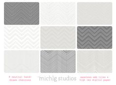 INSTANT DOWNLOAD 9 Hand drawn neutral colored chevron high resolution digital paper and seamless web tiles