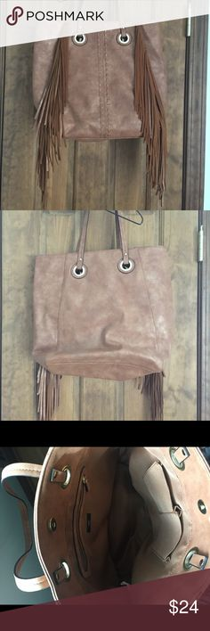 Mossimo Fringe Purse Beautiful Mossimo fringe tote/purse. Goldish brown in color. Used once, like new condition. Mossimo Supply Co. Bags Totes