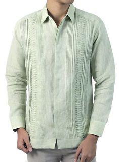 5afe06f55902d Green Long Sleeve Guayabera GUAYABERAS Camisa Cubana