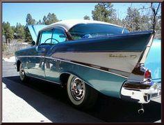 1957 Chevy Bel Air - Love those fins! Bel Air Car, 1957 Chevy Bel Air, Chevrolet Bel Air, Vintage Cars, Antique Cars, American Classic Cars, Hot Cars, Dream Cars, Trucks