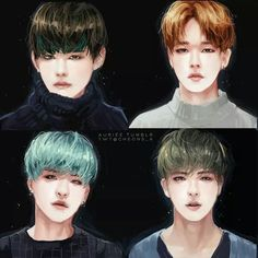 Thank you to whoever drew this. Although Yoongi's hair turned bubblegum now...