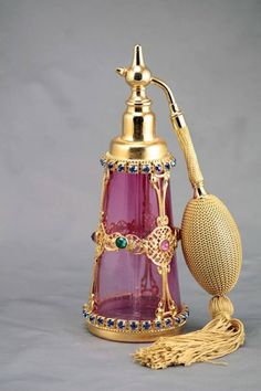 Perfume Atomizer - MUST HAVE.just to make me feel special ! :)Jeweled Perfume Atomizer - MUST HAVE.just to make me feel special ! Perfume Atomizer, Antique Perfume Bottles, Vintage Perfume Bottles, Perfumes Vintage, Beautiful Perfume, Bottles And Jars, Objet D'art, Cranberry Glass, Passion Perfume