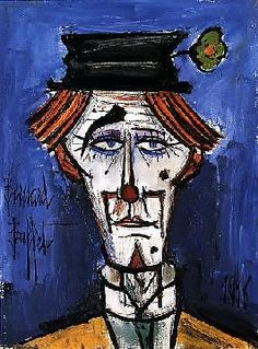 """DiegoVoci™created many versions of Clowns - even some that share Buffet's features. See our CLOWNS GALLERY Board. Shown here is Bernard Buffet's """"Lithograph Tete de Clown"""""""