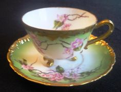 ANTIQUE T&V LIMOGES THREE FOOTED CUP & SAUCER HAND PAINTED CHERRY BLOSSOM 1907