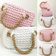 1,026 отметок «Нравится», 29 комментариев — jodlove (@jodlove_) в Instagram: «#jodlove marshmallow colours #crochetbasket #pink #white #marshmallow #rope #cottoncord…»