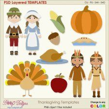 Thanksgiving Layered Element TEMPLATES #CUdigitals cudigitals.comcu commercialdigitalscrapscrapbookgraphics #digiscrap