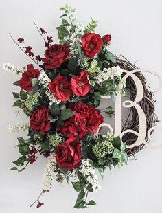 Winter Wreath Monogram Wreath Front Door Wreath Outdoor