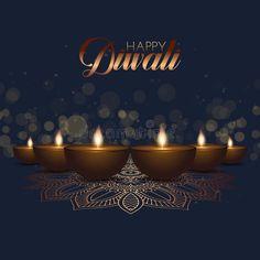 Illustration about Diwali background with oil lamps and bokeh lights design. Illustration of ornaments, deepavali, diwali - 128095085
