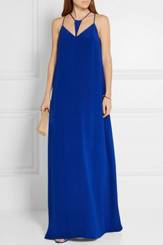 EXCLUSIVE AT NET-A-PORTER.COM. Cushnie et Ochs' maxi dress is crafted from fluid silk-crepe. This style effortlessly drapes over your silhouette with cutouts along the neckline to flatteringly frame your décolletage. Complement the striking royal-blue hue with gold accessories.